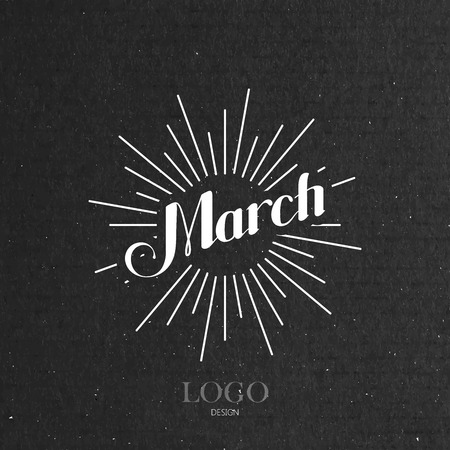 light rays: vector typographic illustration of handwritten March retro label with light rays. lettering logo composition Illustration