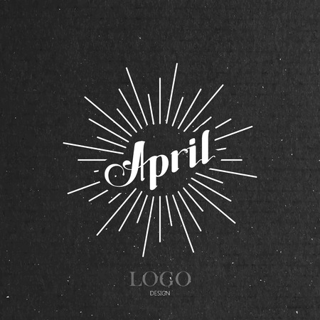 vector typographic illustration of handwritten April retro label with light rays. lettering logo composition