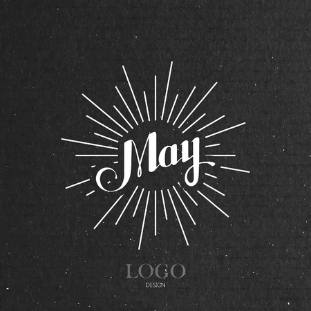 may calendar: vector typographic illustration of handwritten May retro label with light rays. lettering logo composition Illustration