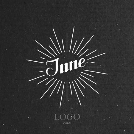june: vector typographic illustration of handwritten June retro label with light rays. lettering logo composition Illustration