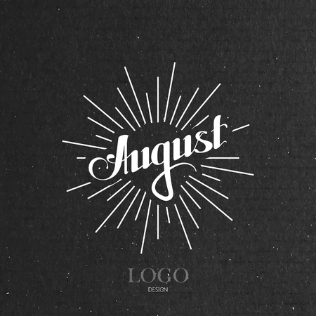 typography signature: vector typographic illustration of handwritten August retro label with light rays. lettering logo composition
