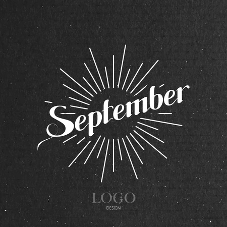 light rays: vector typographic illustration of handwritten September retro label with light rays. lettering logo composition