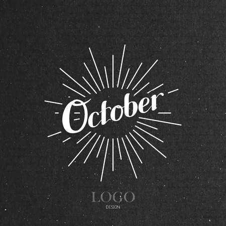 the light rays: vector typographic illustration of handwritten October retro label with light rays. lettering logo composition