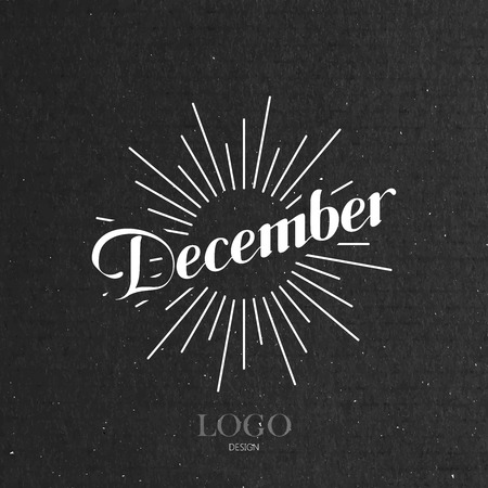 the light rays: vector typographic illustration of handwritten January retro label with light rays. lettering logo composition