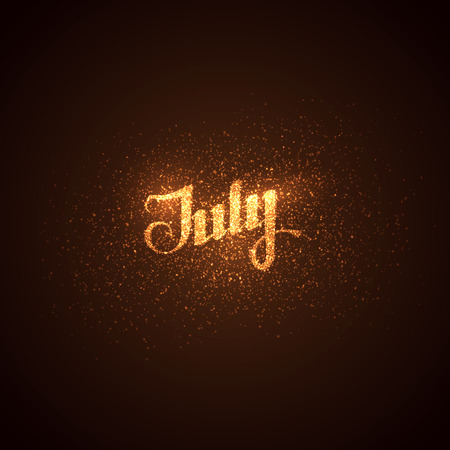 jule: vector shiny illustration of July label with glowing golden sparkles. lettering composition