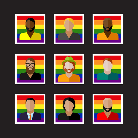 sex discrimination:  set of flat people icons with LGBT community members