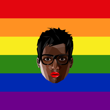 nude lesbian: LGBT community member.  illustration of low-poly human face on the rainbow flag background. Illustration