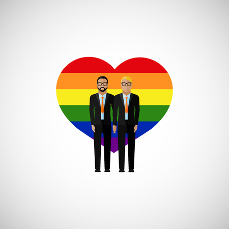 gay marriage: gay marriage vector flat illustration. homosexual couple on the rainbow heart background. love wins Illustration