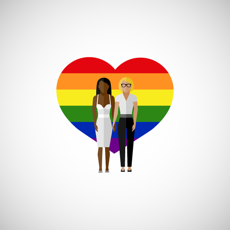 homosexual sex: gay marriage vector flat illustration. homosexual lesbian couple on the rainbow heart background. love wins Illustration