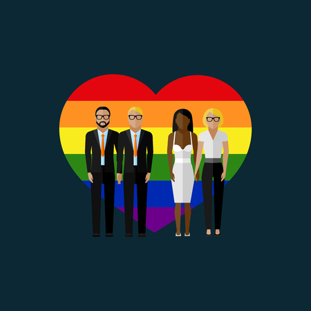 homosexual sex: gay marriage vector flat illustration. homosexual couples on the rainbow heart background. love wins