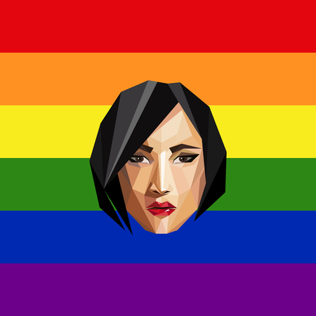 woman face: LGBT community member. vector illustration of low-poly human face on the ranbow flag background.