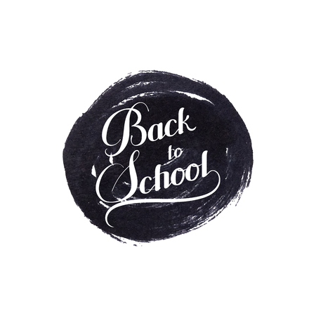 ink stain: education  illustration of Back To School retro label. lettering composition with ink stain