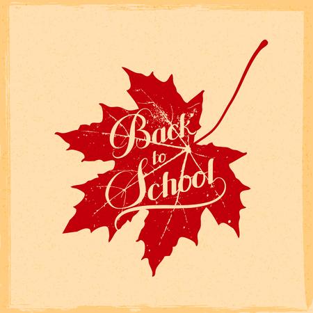 vettore educazione illustrazione di Back To School retro etichetta con foglia d'acero. Composizione scritta