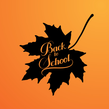 fall background: education  illustration of Back To School retro label with maple leaf. lettering composition