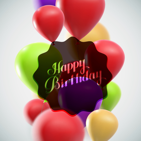 Feliz cumpleaños. ilustración de la etiqueta de fiesta con globos volando