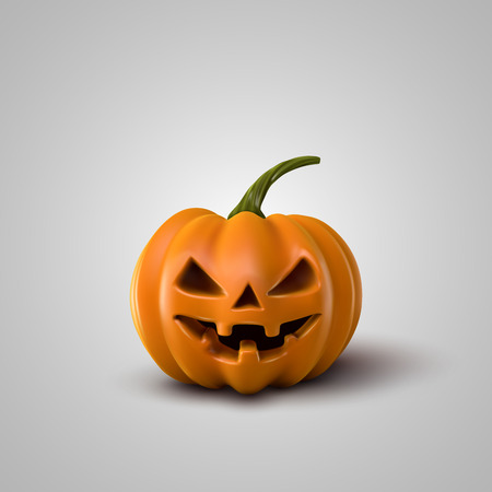terrible: Halloween Pumpkin. Holiday Vector Illustration Of Realistic Pumpkin