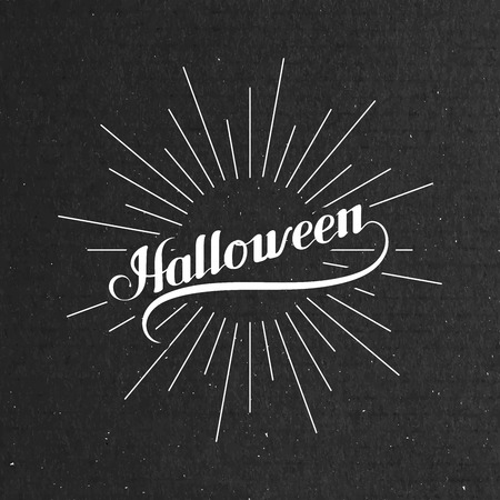 light rays: Halloween. Holiday Vector Illustration. Lettering Composition With Light Rays