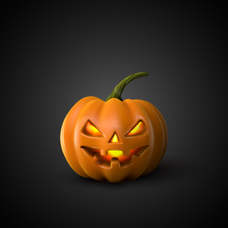 Halloween pompoen Jack Lantern. Holiday Vector Illustratie Van Realistic Pumpkin