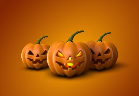 pumpkin: Halloween Pumpkins. Jack Lanterns. Holiday Vector Illustration Of Realistic Pumpkin