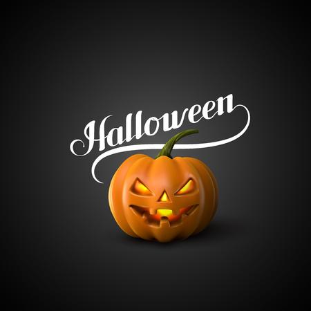terrible: Halloween Pumpkin Jack Lantern. Holiday Vector Illustration Of Realistic Pumpkin