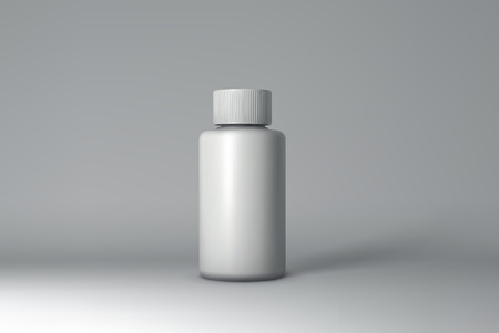 retail therapy: Plastic Bottle Packaging Mock-up. White Medical Container. Vector Illustration