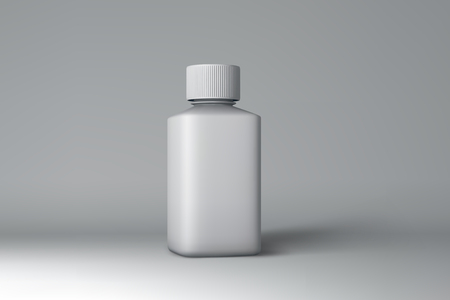 milk pail: Plastic Bottle Packaging Mock-up. White Medical Container. Vector Illustration