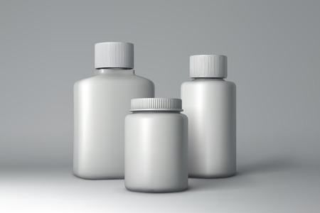 botella de plastico: Plastic Bottle Packaging Mock-up. White Medical Container. Vector Illustration
