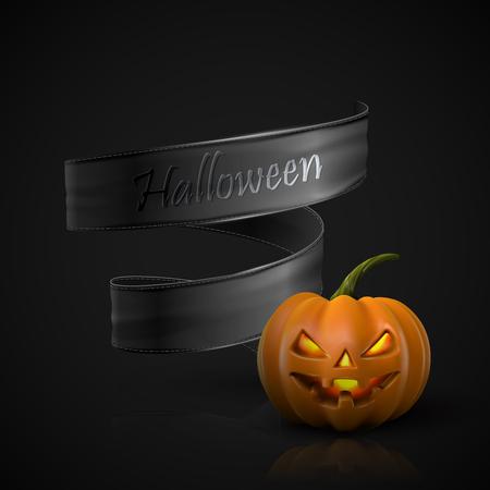 terrible: Halloween Pumpkin Jack Lantern with black ribbon. Holiday Vector Illustration Of Realistic Pumpkin