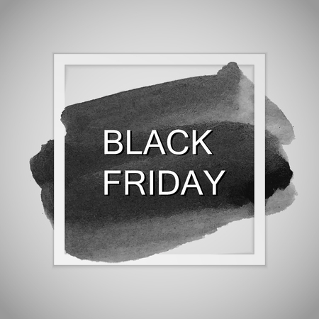 stain: Black Friday Sale label on the watercolor stain. Promotional poster template