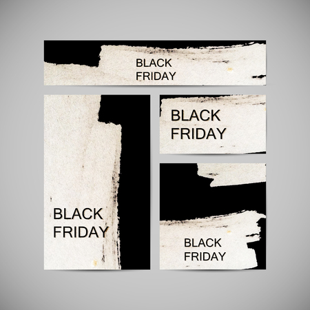 Black Friday Sale label on the watercolor stain. Promotional flyer templates