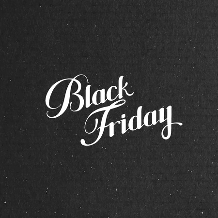 cardboard texture: Black Friday Sale label on the cardboard texture. Promotional banner template with lettering composition