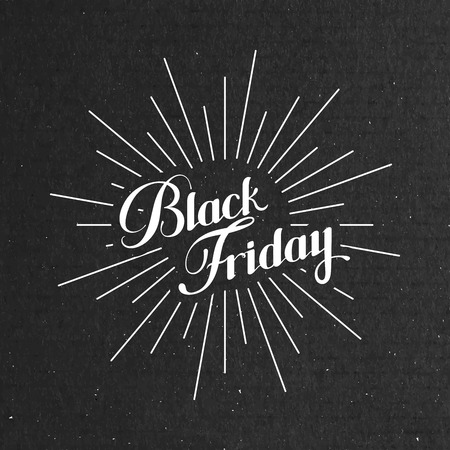 light rays: Black Friday Sale label on the cardboard texture. Promotional banner template with lettering composition and light rays Stock Illustratie