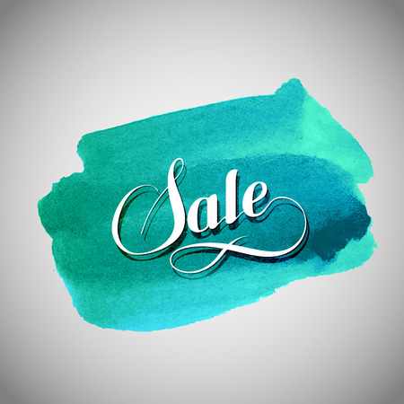 azure: Sale label on the azure watercolor stain. Promotional poster template with lettering composition Illustration