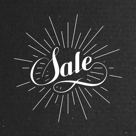 light rays: Sale label on the cardboard texture. Promotional poster template with lettering composition and light rays