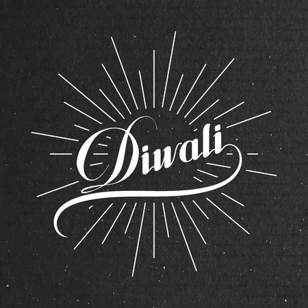 Diwali. Holiday Vector Illustration Of Religion Event Deepavali. Lettering Composition with light rays. Poster Template