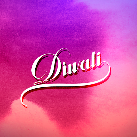 religion: Diwali. Holiday Vector Illustration Of Religion Event Deepavali. Lettering Composition On The Watercolor Stain. Poster Template