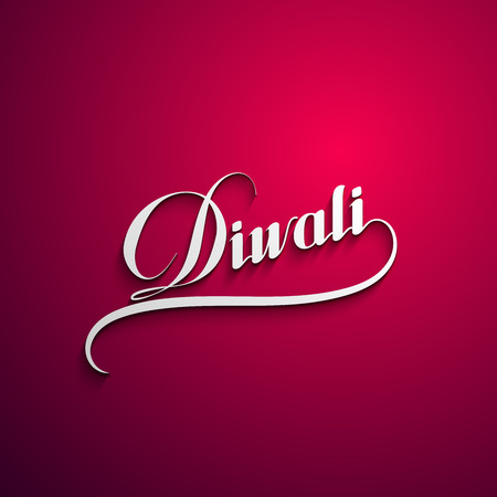 decorative background: Diwali. Holiday Vector Illustration Of Religion Event Deepavali. Lettering Composition. Poster Template