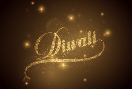 shiny background: Diwali. Holiday Vector Illustration Of Religion Event Deepavali. Shiny Lettering Composition With Sparkles. Poster Template