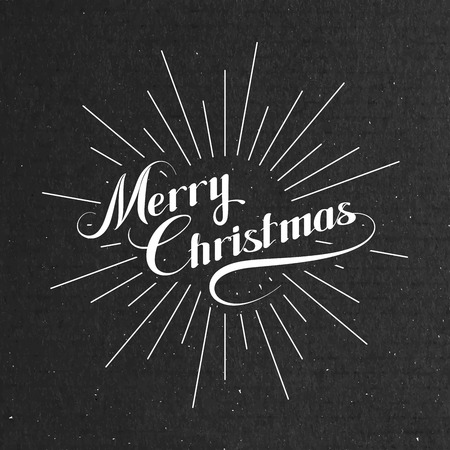retro christmas: Merry Christmas. Holiday Vector Illustration. Lettering Composition With Light Rays