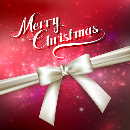 mo�o blanco: Merry Christmas. Holiday Vector Illustration. Lettering Composition On The Red Shiny Background With Sparkles And White Bow