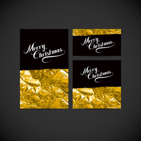 golden texture: Merry Christmas. Holiday Vector Illustration. Set Of Postcards, Greeting Cards Or Flyers With Lettering Composition And Golden Foil Texture. Design Templates