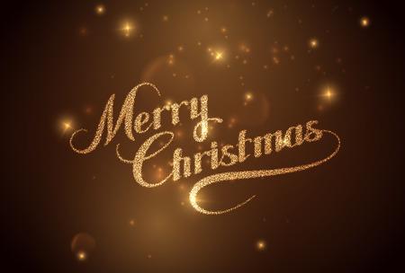 diciembre: Feliz Navidad. Ilustración de vacaciones Vector. Composición letras brillante con estrellas y Sparkles Vectores