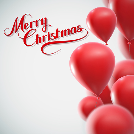 religious text: Merry Christmas lettering composition on the background of flying red balloons. Holiday Vector Illustration
