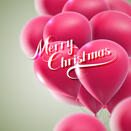pink balloons: Merry Christmas lettering composition on the background of flying pink balloons. Holiday Vector Illustration