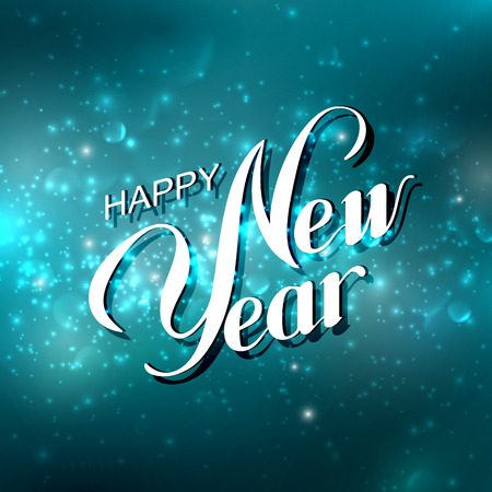 new year: Happy New Year. Holiday Vector Illustration. Lettering Composition On The Blue Shiny Background With Sparkles