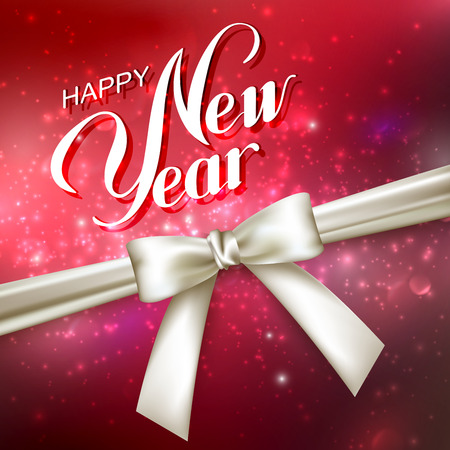 Happy New Year. Holiday Vector Illustration. Lettering Composition On The Red Shiny Background With Sparkles And White Bow Çizim