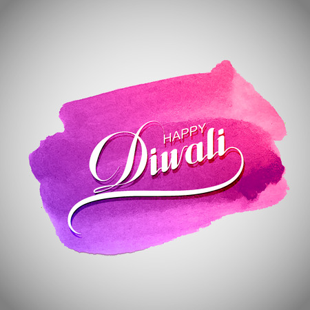 diwali: Diwali. Holiday Vector Illustration Of Religion Event Deepavali. Lettering Composition On The Watercolor Stain. Poster Template