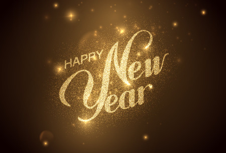oslava: Šťastný nový rok. Dovolená ilustrace. Lesklý popisovaného složení s hvězdami a jiskry Ilustrace