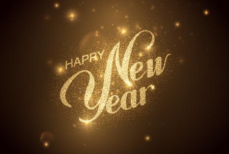 diciembre: Feliz año nuevo. Ilustración de vacaciones. Composición letras brillante con estrellas y las chispas