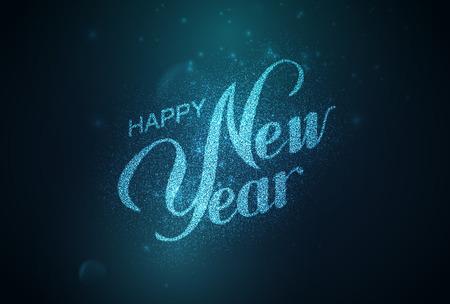 Frohes neues Jahr. Feiertag Illustration. Glänzende Beschriftung Komposition mit Sternen und Sparkles Standard-Bild - 48191073